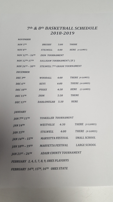 Maryetta 7th/8th 2018-19 Basketball Schedule