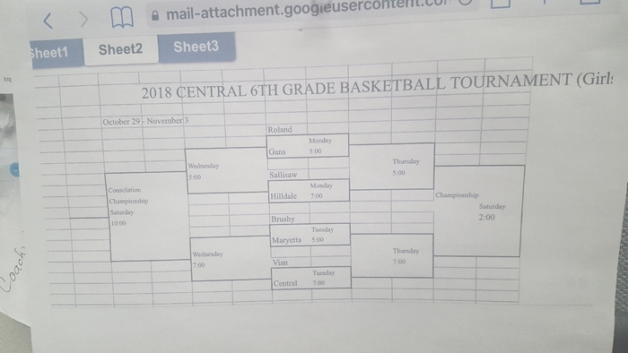 Next Week 6th Grade Girls Sallisaw Central Tournament Bracket