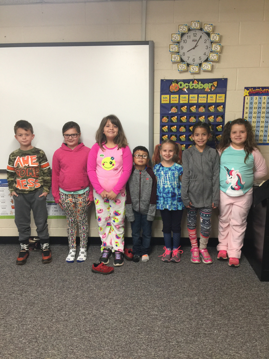 Mrs. Elms' 2nd graders sporting their crazy hair, socks, and p.j.'s!