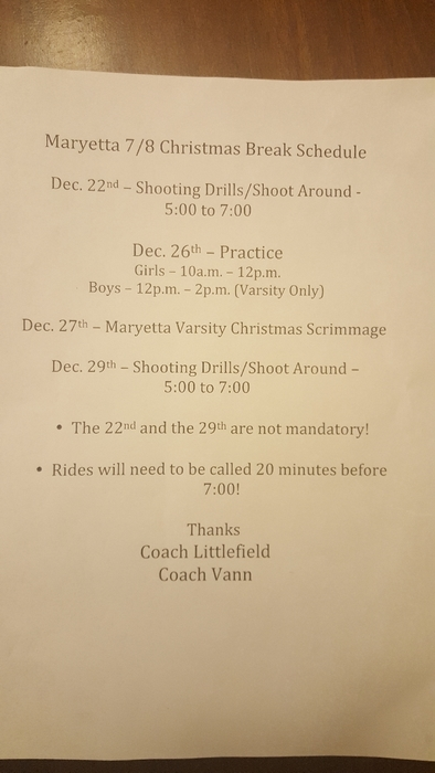 Christmas Break Basketball Schedule