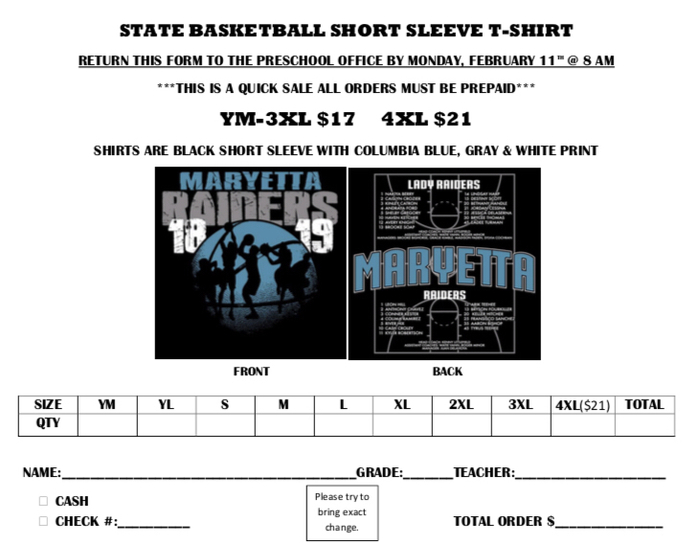Basketball order form