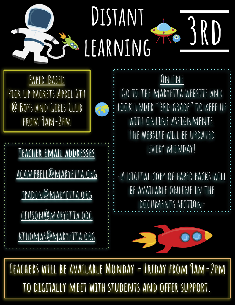 3rd Grade Distant Learning Flyer